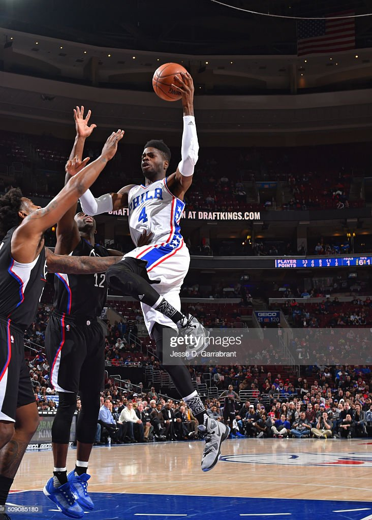 <a gi-track='captionPersonalityLinkClicked' href=/galleries/search?phrase=Nerlens+Noel&family=editorial&specificpeople=7880842 ng-click='$event.stopPropagation()'>Nerlens Noel</a> #4 of the Philadelphia 76ers goes up for the easy bucket against the Los Angeles Clippers at Wells Fargo Center on February 8, 2016 in Philadelphia, Pennsylvania