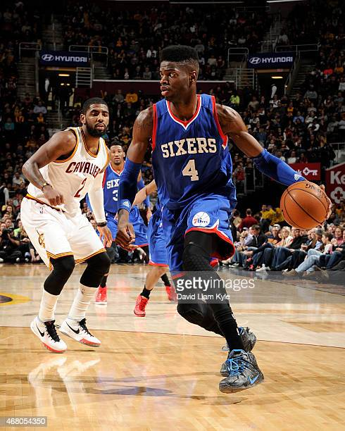 Nerlens Noel of the Philadelphia 76ers handles the ball against the Cleveland Cavaliers on March 29 2015 at Quicken Loans Arena in Cleveland Ohio...