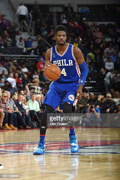Nerlens Noel of the Philadelphia 76ers handles the ball during the game against the Detroit Pistons on January 27 2016 at The Palace of Auburn Hills...
