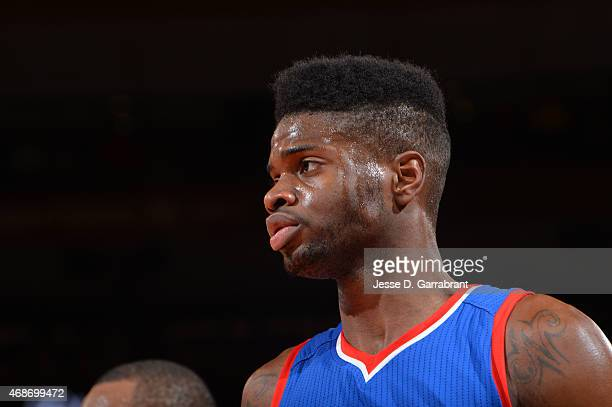 Nerlens Noel of the Philadelphia 76ers looks on against the New York Knicks at Madison Square Garden on April 5 2015 in New York New York NOTE TO...