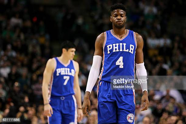 Nerlens Noel of the Philadelphia 76ers looks on during the second half against the Boston Celtics at TD Garden on January 6 2017 in Boston...