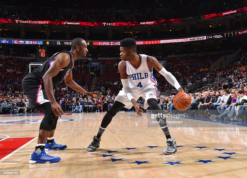 <a gi-track='captionPersonalityLinkClicked' href=/galleries/search?phrase=Nerlens+Noel&family=editorial&specificpeople=7880842 ng-click='$event.stopPropagation()'>Nerlens Noel</a> #4 of the Philadelphia 76ers looks to pass the ball against the Los Angeles Clippers at Wells Fargo Center on February 8, 2016 in Philadelphia, Pennsylvania