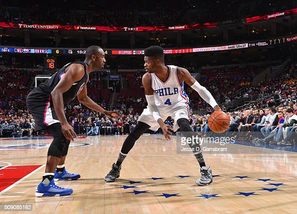 Nerlens Noel of the Philadelphia 76ers looks to pass the ball against the Los Angeles Clippers at Wells Fargo Center on February 8 2016 in...