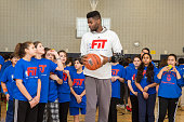 Nerlens Noel of the Philadelphia 76ers participates in NBA Cares/FIT Day of Service at West PS 087 Middle Village during the 2015 NBA AllStar on...