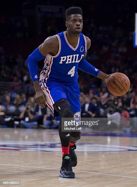Nerlens Noel of the Philadelphia 76ers plays in the game against the Utah Jazz on October 30 2015 at the Wells Fargo Center in Philadelphia...