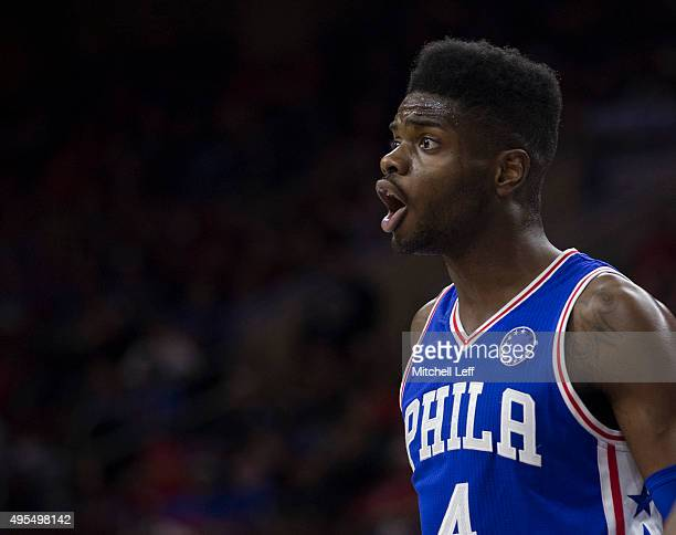 Nerlens Noel of the Philadelphia 76ers plays in the game against the Utah Jazz on October 30 2015 at the Wells Fargo Center in Philadelphia...