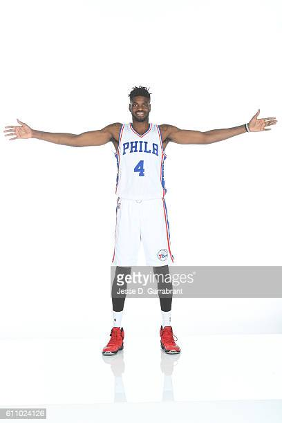 Nerlens Noel of the Philadelphia 76ers poses for a portrait at the Philadelphia 76ers Training Complex during NBA media day on September 262016 in...