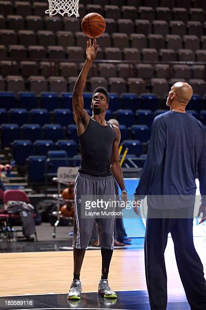 Nerlens Noel of the Philadelphia 76ers practices as the team prepares for their game against the Oklahoma City Thunder as part of the NBA Global...