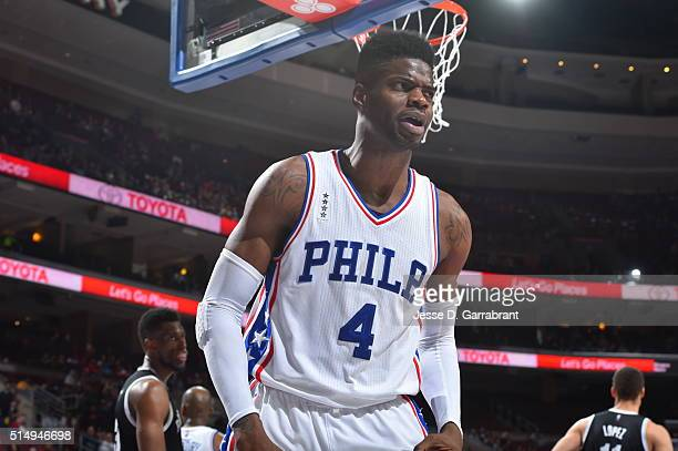 Nerlens Noel of the Philadelphia 76ers reacts after a play against the Brooklyn Nets at Wells Fargo Center on March 11 2016 in Philadelphia...