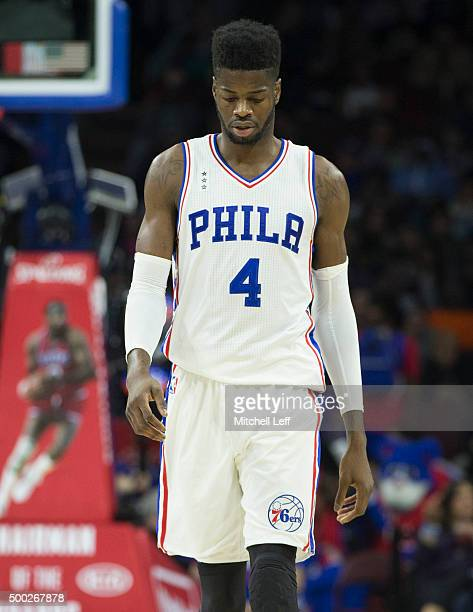 Nerlens Noel of the Philadelphia 76ers reacts in the game against the Los Angeles Lakers on December 1 2015 at the Wells Fargo Center in Philadelphia...