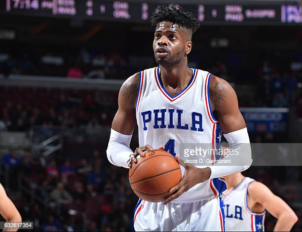 Nerlens Noel of the Philadelphia 76ers shoots a foul shot against the Los Angeles Clippers at Wells Fargo Center on January 24 2017 in Philadelphia...