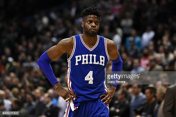 Nerlens Noel of the Philadelphia 76ers walks to the free throw line during the second half of a game against the Milwaukee Bucks at the BMO Harris...
