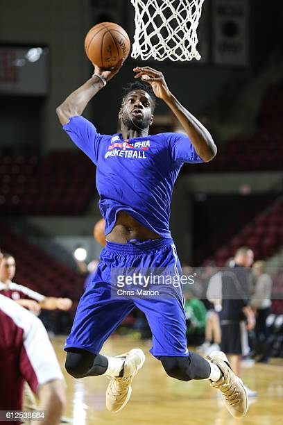 Nerlens Noel of the Philadelphia 76ers warms up before the game against the Boston Celtics during a preseason game on October 4 2016 at the Mullins...