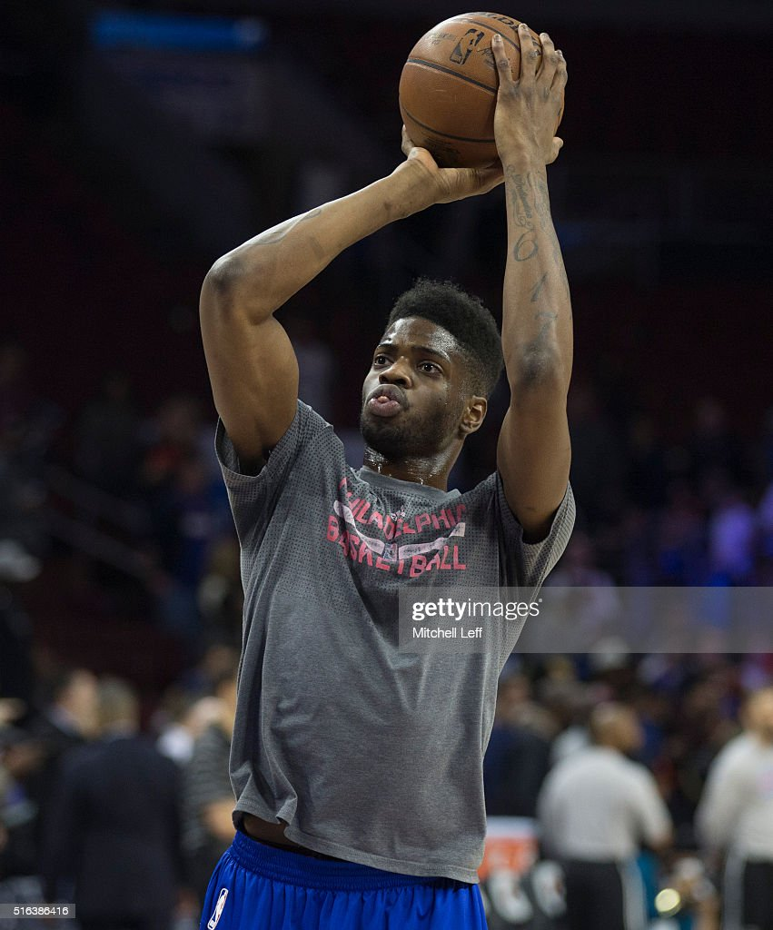 Nerlens Noel #4 of the Philadelphia 76ers warms up prior to the game against the Oklahoma City Thunder on March 18, 2016 at the Wells Fargo Center in Philadelphia, Pennsylvania.