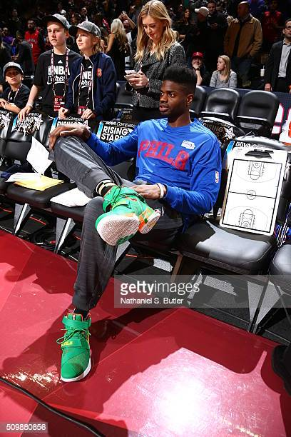 Nerlens Noel of the USA Team sits on the bench before the game against the World Team during the BBVA Compass Rising Stars Challenge as part of NBA...