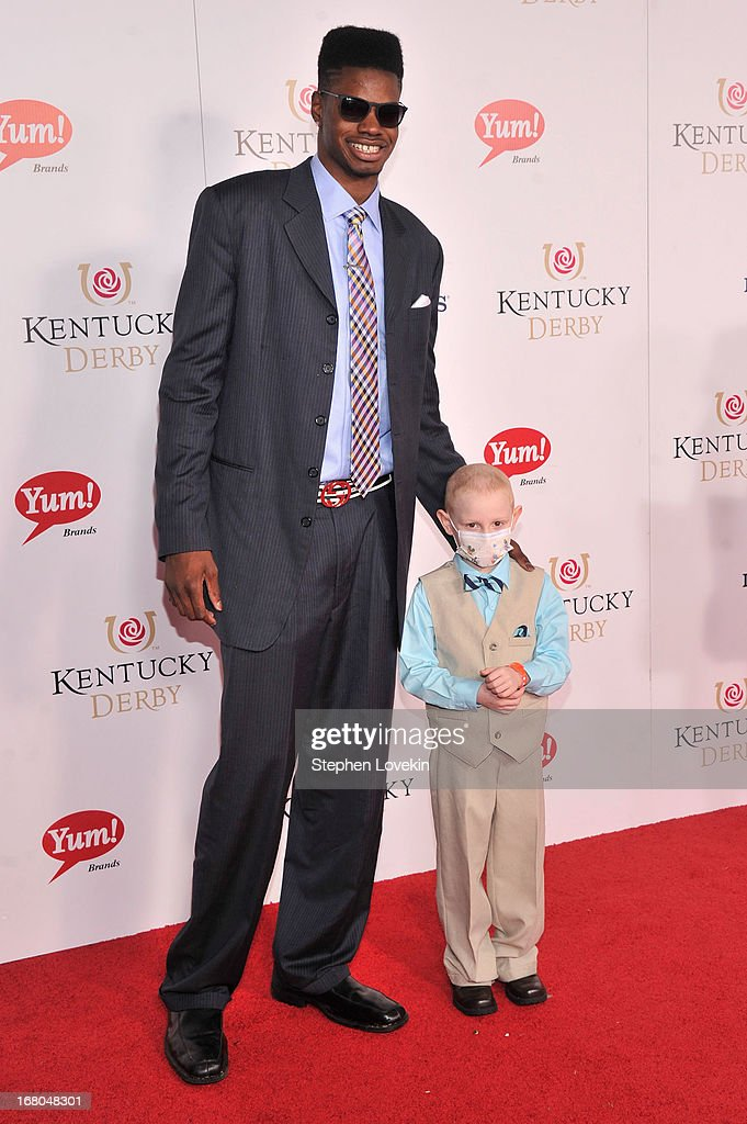 Nerlens Noel poses woth leukemia patient Kelly Melton at the 139th Kentucky Derby at Churchill Downs on May 4, 2013 in Louisville, Kentucky.