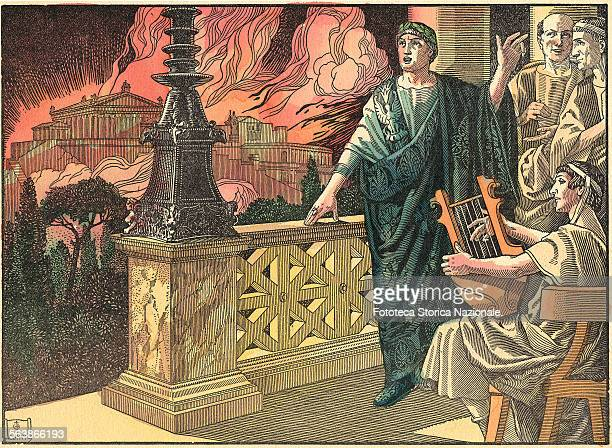 'Nero was above a tower to enjoy the spectacle and to sing along to the sound of the harp' July 18 27 64 AD Colored woodcut by Conti from 'History of...