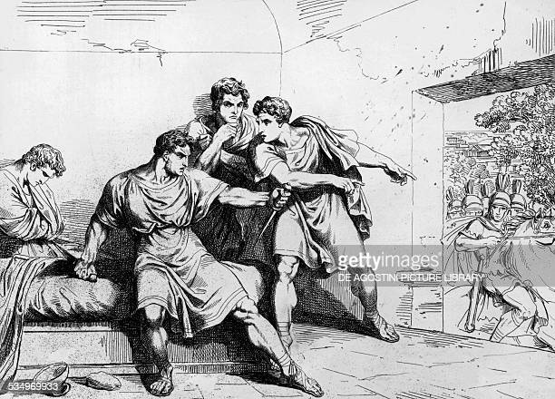 Nero's death from History of the emperors starting from Ottavio engraving by Bartolomeo Pinelli Rome 1829 Italy 19th century