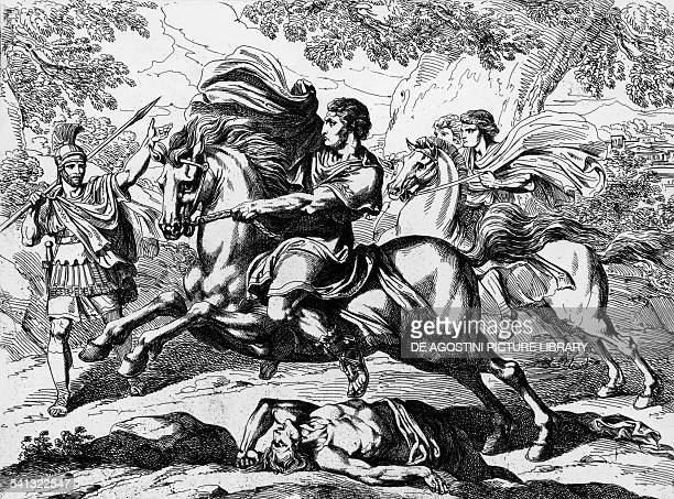 Nero's escape engraving by Bartolomeo Pinelli from Istoria dell'Imperatori 1829 Italy 19th century