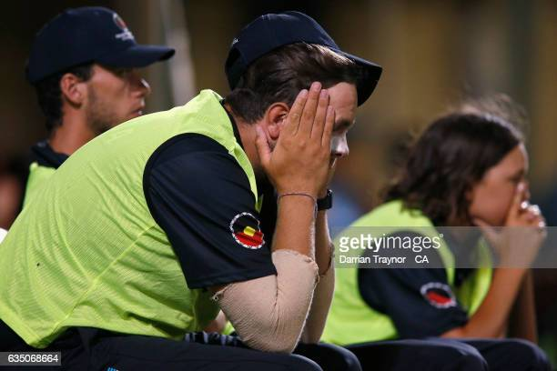 A nervous Alex Kerr of Victoria looks on during the National Indigenous Cricket Championships Final between New South Wales and Victoria on February...