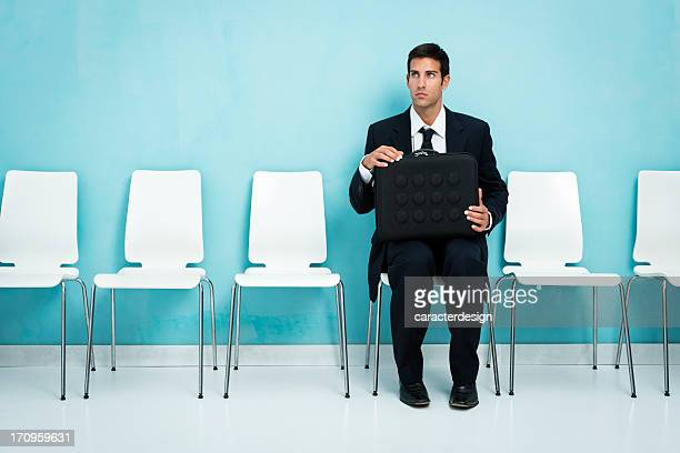 Nervous businessman in waiting room