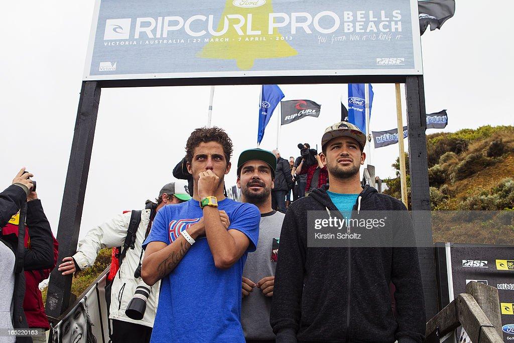 Nervous wait - Felipe Toledo, Willian Cardoso and Alejo Muniz of Brasil wait for scores to drop at the Rip Curl Pro on April 2, 2013 in Bells Beach, Australia.