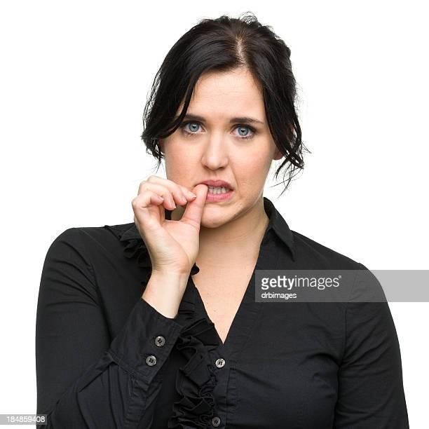 Nervous Young Woman Biting Nail