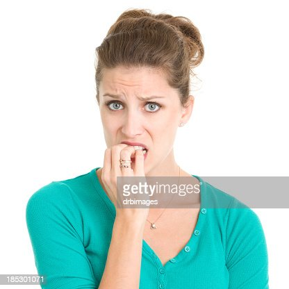Nervous Young Woman Biting Nails