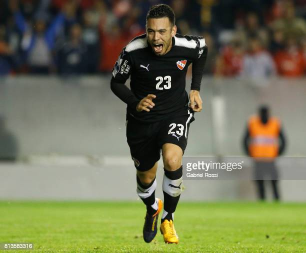 Nery Andres Dominguez of Independiente celebrates after scoring the fourth goal of his team during the first leg match between Independiente and...