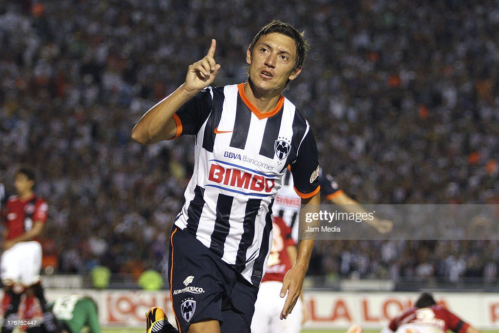 Nery Cardozo of Monterrey celebrates a goal gainst Tijuana during a match between Monterrey and Tijuana as part of the Apertura 2013 Liga Bancomer MX at Tecnologico Stadium on August 17, 2013 in Monterrey, Mexico.