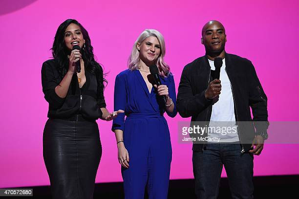 Nessa Carly Aquilino Charlamagne Tha God speak onstage at the MTV 2015 Upfront presentation on April 21 2015 in New York City
