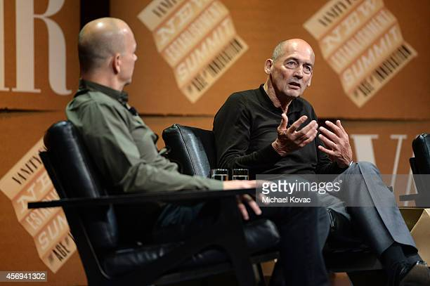 Nest CEO and Founder Tony Fadell and OMA Founding Partner Rem Koolhaas speak onstage during 'Design in the Digital Age' at the Vanity Fair New...