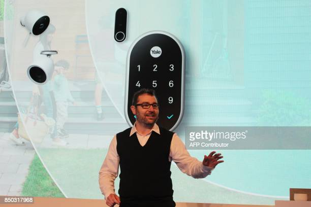Nest cofounder Matt Rogers discusses an array of new homesecurity devices at a media event in San Francisco on September 20 2017 / AFP PHOTO / Glenn...