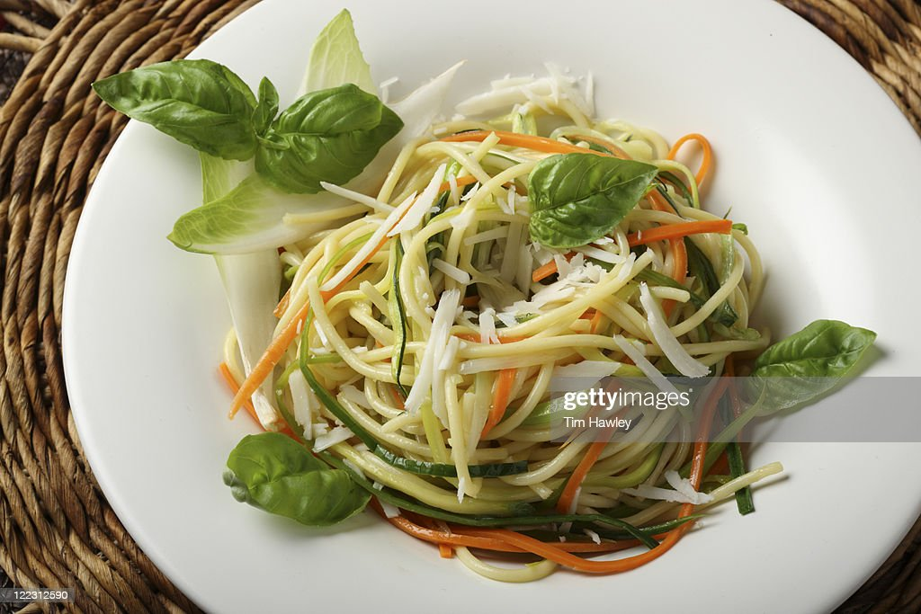 Nest of Spaghetti and vegetables : Stock Photo