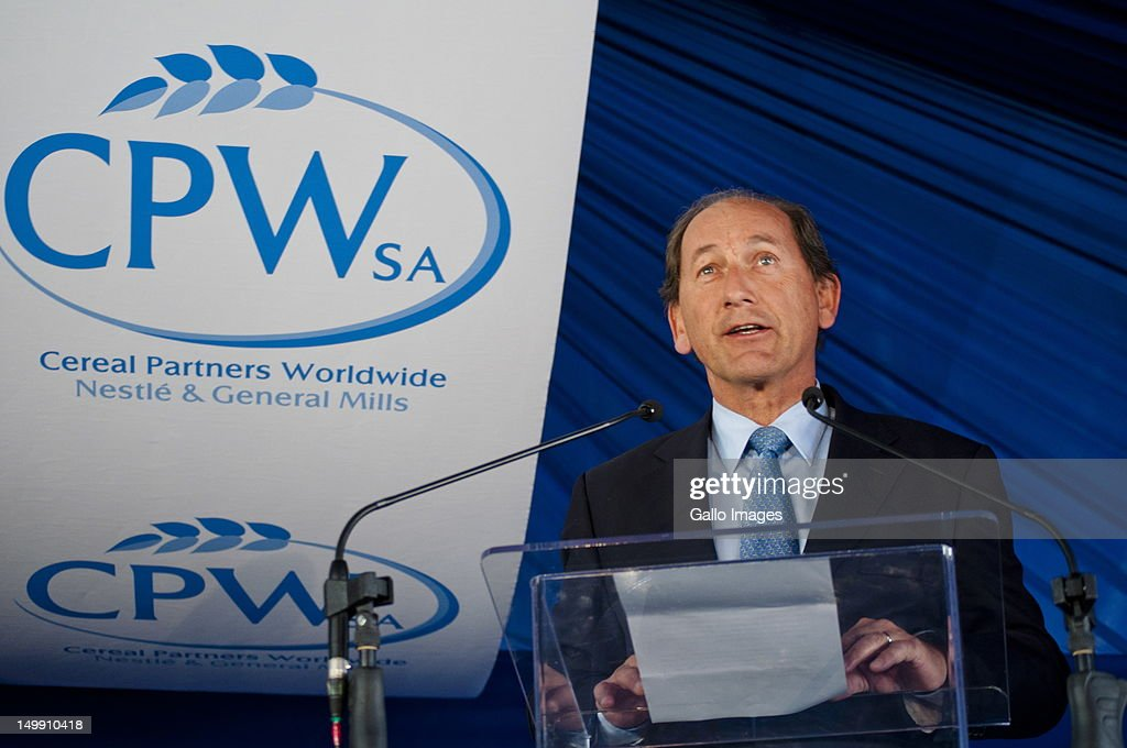 Nestle Global CEO <a gi-track='captionPersonalityLinkClicked' href=/galleries/search?phrase=Paul+Bulcke&family=editorial&specificpeople=4498845 ng-click='$event.stopPropagation()'>Paul Bulcke</a> speaks at the opening of two Nestle factories on August 6, 2012 in Babelegi outside Hammanskraal in Pretoria, South Africa. The factories are expected to create 131 permanent jobs and three Nestle products will be produced there.