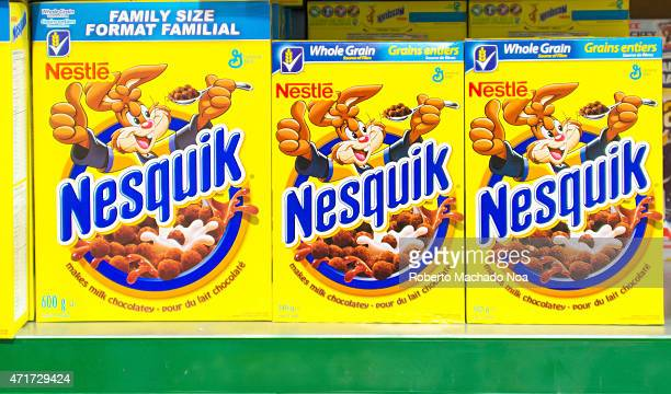 Nestle Nesquik Cereal in a Store ShelfNesquik is a brand of products made by Nestlé In 1948 Nestlé launched a mix for chocolateflavored milk called...