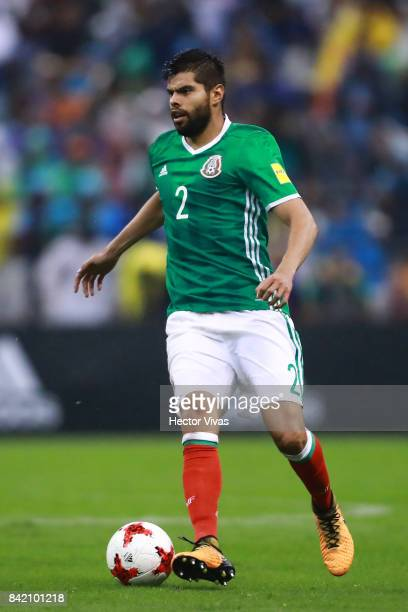 Nestor Araujo of Mexico drives the ball during the match between Mexico and Panama as part of the FIFA 2018 World Cup Qualifiers at Estadio Azteca on...