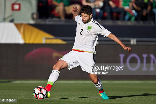 Nestor Araujo of Mexico kicks the ball during a Quarterfinal match against Chile at Levi's Stadium as part of Copa America Centenario US 2016 on June...