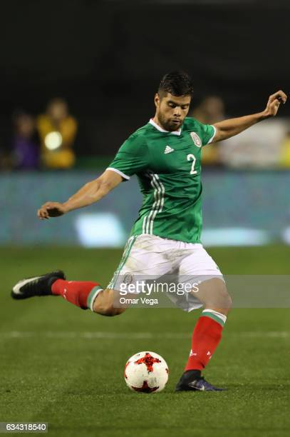 Nestor Araujo of Mexico kicks the ball during an International Friendly match between Mexico and Iceland at Sam Boyd Stadium on February 08 2017 in...