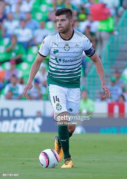 Nestor Araujo of Santos drives the ball during the 4th round match between Santos Laguna and Veracruz as part of the Torneo Apertura 2017 Liga MX on...