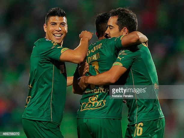 Nestor Calderon celebrates after scoring the first goal of his team during a match between Santos Laguna and Chiapas as part of 13th round Clausura...