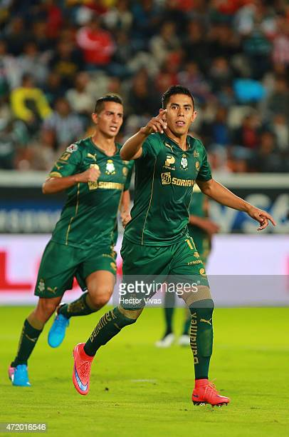 Nestor Calderon of Santos Laguna celebrates after scoring the first goal of his team during a match between Pachuca and Santos Laguna as part of 16th...