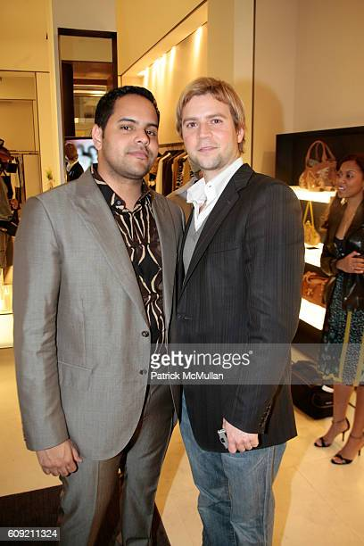Nestor Ochoa and Luis Cortez attend Valentino and Holly Robinson Peete Rodney Peete host cocktail shopping event with wives of the NFL players at...