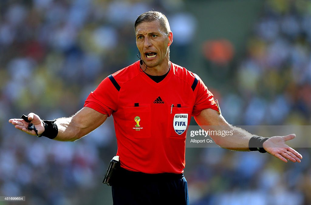 Nestor Pitana referee of Argentina reacts during the 2014 FIFA World Cup Brazil Quarter Final match between France and Germany at Maracana on July 4, 2014 in Rio de Janeiro, Brazil.
