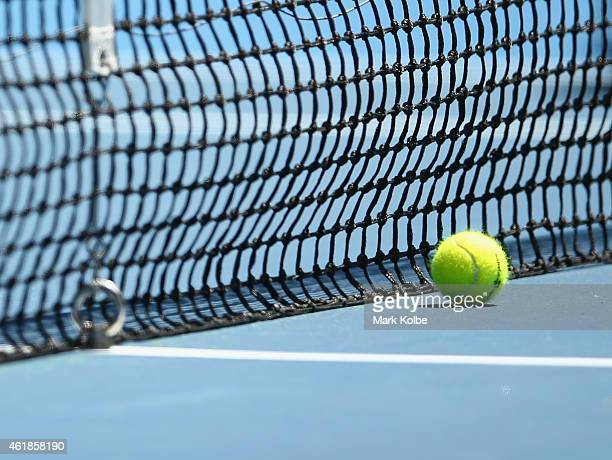 Net and ball detail during day three of the 2015 Australian Open at Melbourne Park on January 21 2015 in Melbourne Australia