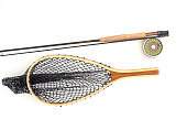 Net and Fly Fishing Rod