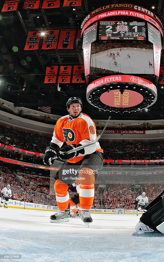 A net cam view of Nicklas Grossmann of the Philadelphia Flyers against the Los Angeles Kings on October 28 2014 at the Wells Fargo Center in...