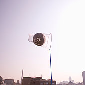 Net catching carbon dioxide molecule over city at dusk
