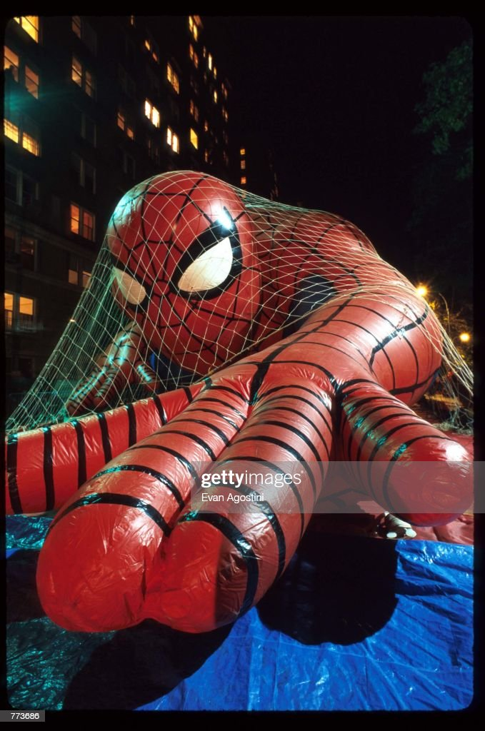 A net covers a giant Spiderman balloon on the eve of the 69th Macy's Thanksgiving Day Parade November 22, 1995 in New York City. The parade was established in the 1920's by first-generation immigrants working at Macy's department store who wanted to celebrate the American holiday of Thanksgiving with the type of balloon festivals they enjoyed in Europe.