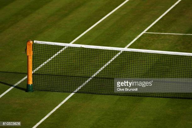Net detail on day five of the Wimbledon Lawn Tennis Championships at the All England Lawn Tennis and Croquet Club on July 7 2017 in London England
